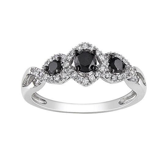 Midnight Black Diamond 1 2 Ct Tw White Color Enhanced Black Diamond 10k White Gold 3 Stone Ring