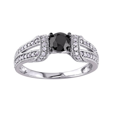 1 1/8 CT. T.W. Color-Enhanced Black Diamond 10K White Gold Bridal Ring