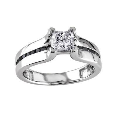 Midnight Black Diamond 1 CT. T.W. White & Color-Enhanced Black Diamond 14K White Gold Engagement Ring