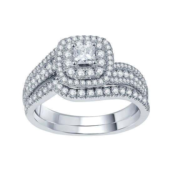 Modern Bride® Signature 1 CT. T.W. Certified White & Color-Enhanced Blue Diamond Set