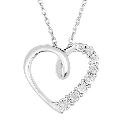 TruMiracle® 1/10 CT. T.W. Diamond Sterling Silver Heart Pendant Necklace