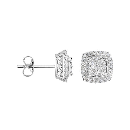 T W Diamond Square Sterling Silver Earrings