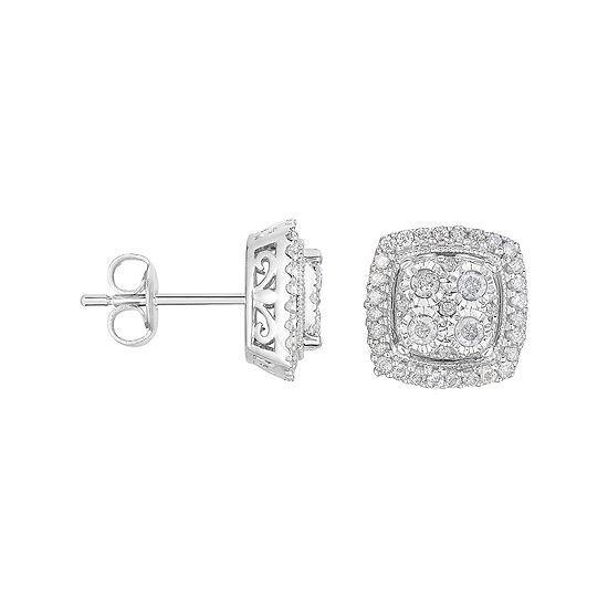 TruMiracle® 1/2 CT. T.W. Diamond Square Sterling Silver Earrings