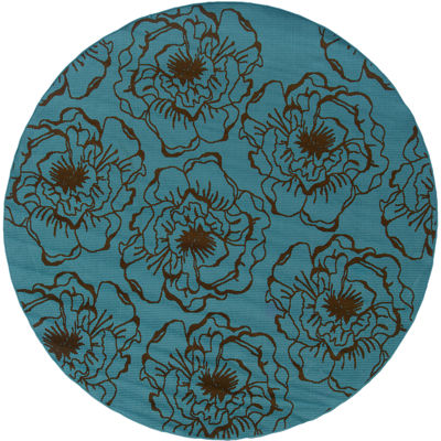 Covington Home Blue Ink Floral Indoor/Outdoor Round Rug