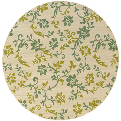 Covington Home Delicate Vine Floral Indoor/OutdoorRound Rug