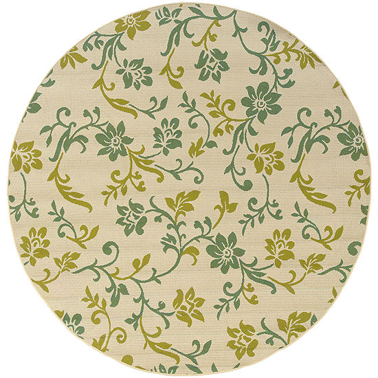 Covington Home Delicate Vine Floral Indoor/OutdoorRound Rug