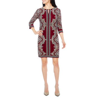 Studio 1 3/4 Sleeve Paisley Shift Dress