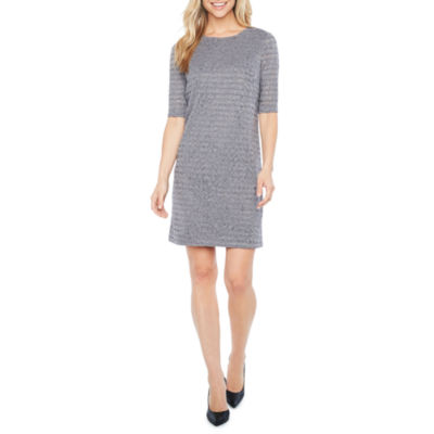 London Style Elbow Sleeve Fit & Flare Dress
