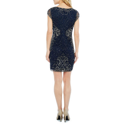 MSK Short Sleeve Beaded Abstract Sheath Dress