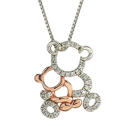 Womens 1/8 CT. T.W. Genuine White Diamond 10K Gold Sterling Silver Pendant Necklace
