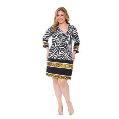 White Mark Madelyn Pattern Sheath Dress-Plus