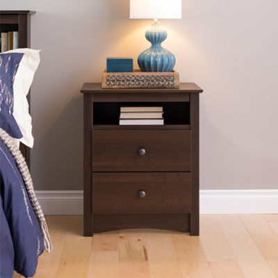 Prepac Fremont Tall 2 Drawer Nightstand with OpenShelf
