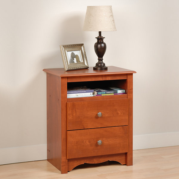 Prepac Monterey Tall 2 Drawer Nightstand with OpenShelf