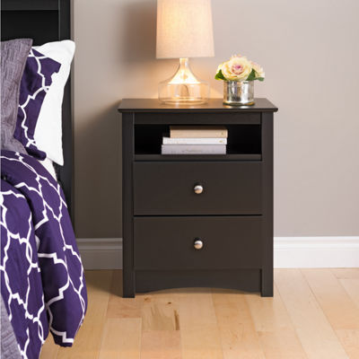 Prepac Sonoma Tall 2 Drawer Nightstand with Open Shelf
