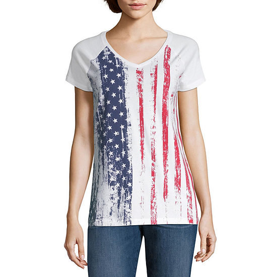 St. John's Bay Short Sleeve Americana V-Neck Tee - Tall