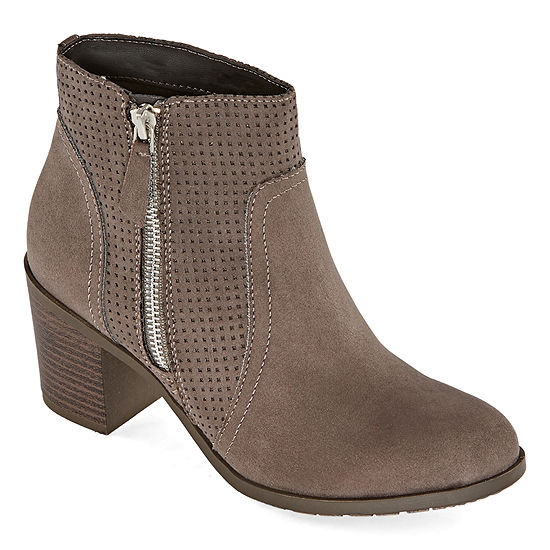 Arizona Womens Ora Block Heel Zip Booties
