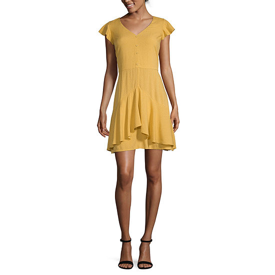 Eyeshadow Short Sleeve Party Dress-Juniors Short
