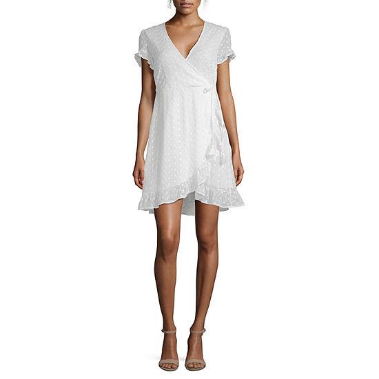Joseph Allen Short Sleeve Eyelet Wrap Dress-Juniors