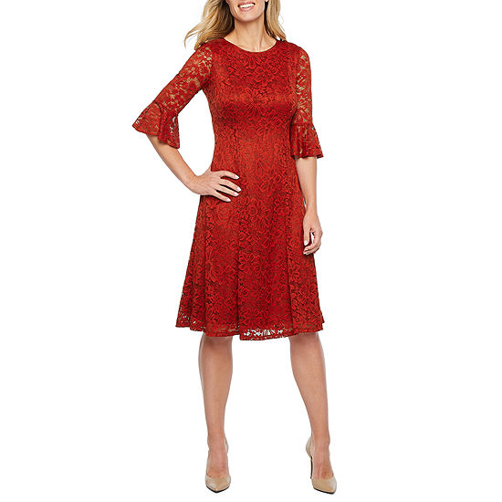 Perceptions 3/4 Bell Sleeve Floral Lace Fit & Flare Dress