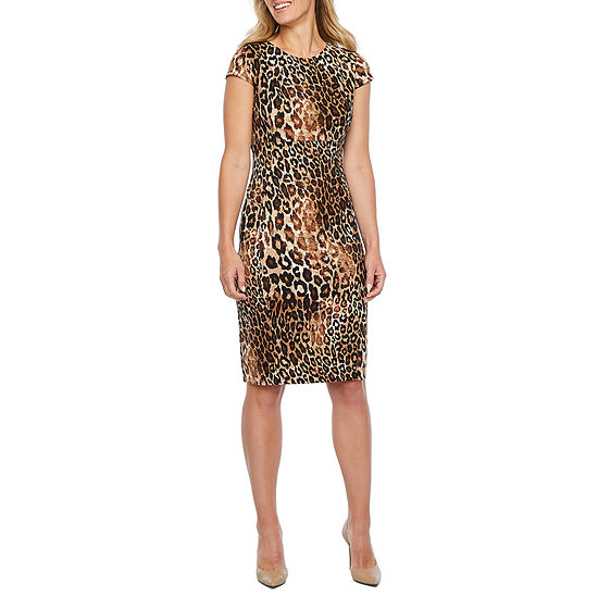 Liz Claiborne Short Sleeve Animal Sheath Dress Color