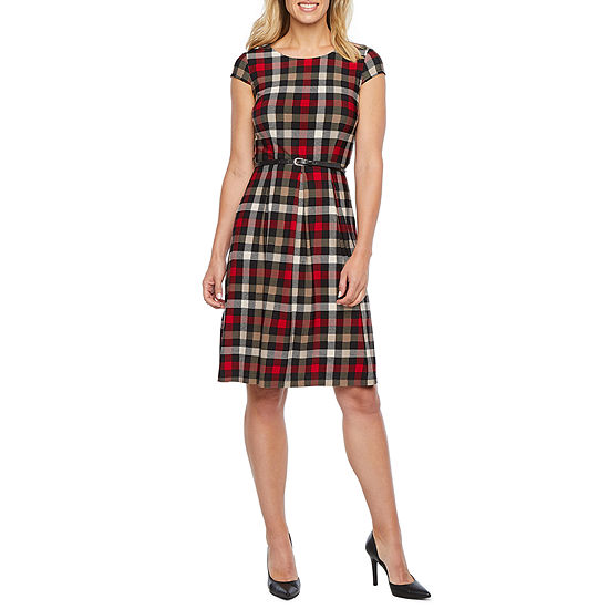 Liz Claiborne Short Sleeve Checked Fit & Flare Dress