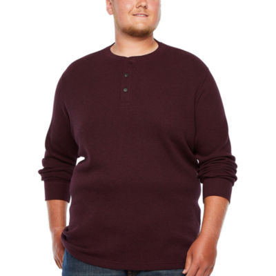 The Foundry Big & Tall Supply Co.-Big and Tall Mens Long Sleeve Henley Shirt