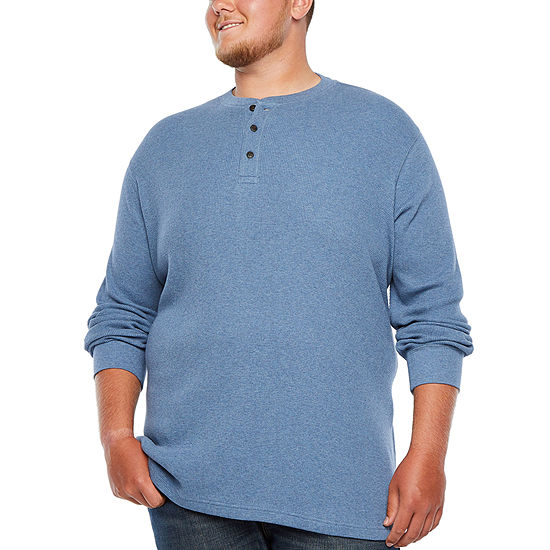The Foundry Big & Tall Supply Co. Mens Long Sleeve Henley Shirt-Big and Tall