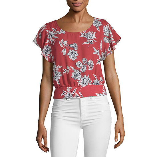 by&by-Juniors Womens Scoop Neck Short Sleeve Dobby Blouse