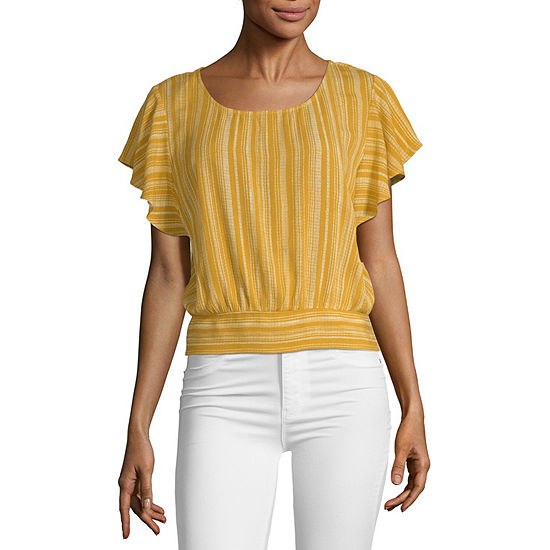 by&by Scoop Neck Short Sleeve Blouse- Juniors