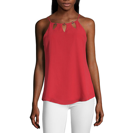 by&by Womens Halter Neck Sleeveless Blouse-Juniors