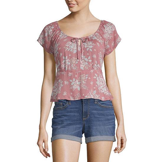 Arizona Short Sleeve Dobby Floral Blouse-Juniors