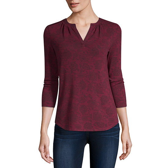 Liz Claiborne-Womens Split Crew Neck 3/4 Sleeve T-Shirt Petite