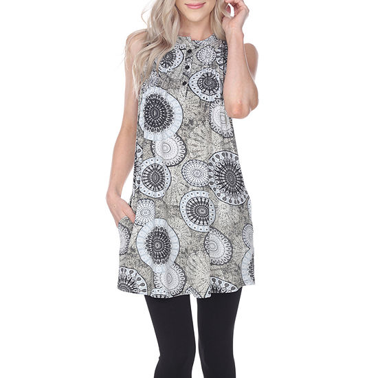 White Mark Not Applicable Womens Round Neck Sleeveless Tunic Top
