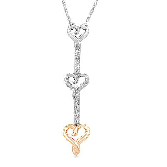 Hallmark Diamonds Womens 1/7 CT. T.W. Genuine Diamond 14K Rose Gold Over Silver Heart Pendant