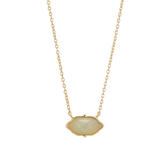 Footnotes Womens Green Amazonite Oval Pendant Necklace