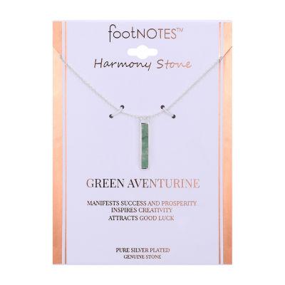 Footnotes Womens Green Aventurine Rectangular Pendant Necklace
