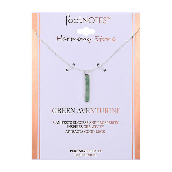 Footnotes Womens Green Aventurine Rectangular Pendant Necklace