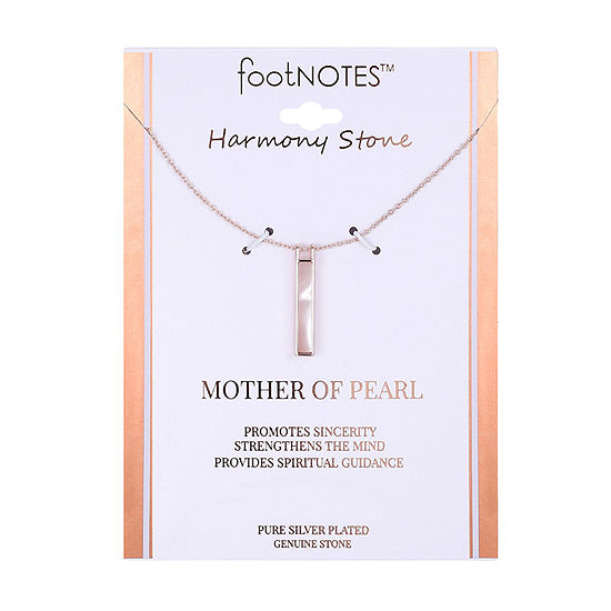 Footnotes Womens White Mother Of Pearl Rectangular Pendant Necklace