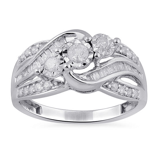 Womens 1/2 CT. T.W. Genuine Diamond 10K White Gold Cluster Cocktail Ring