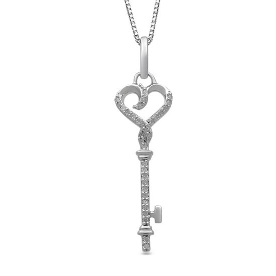 Hallmark Diamonds Womens 1/10 CT. T.W. Genuine Diamond Sterling Silver Heart Pendant