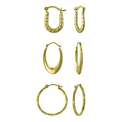 14K Gold 3-pr. Small Hoop Earring Set