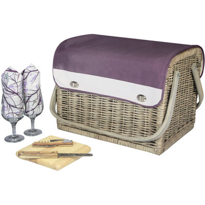 Picnic Time® Aviano Collection Kabrio Wine Basket – Service for 2