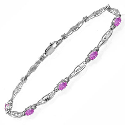 Limited Quantities! Womens Diamond Accent Pink Sapphire Sterling Silver Tennis Bracelet
