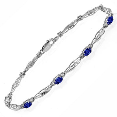 Limited Quantities! Diamond Accent Lab Created Blue Sapphire Sterling Silver 7.25 Inch Tennis Bracelet