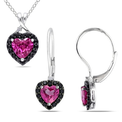 Womens 2-pack 1/7 CT. T.W. Pink Sapphire Sterling Silver Jewelry Set
