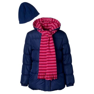 Pink Platinum Heavyweight Puffer Jacket - Girls-Preschool