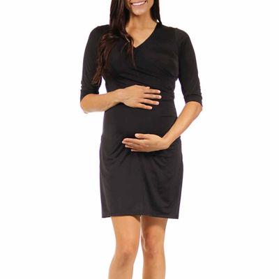 24/7 Comfort Apparel Wrap Dress-Maternity