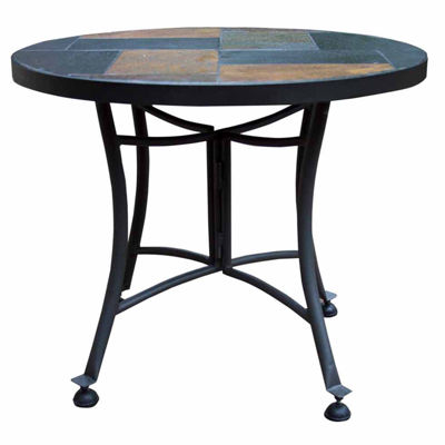 Outdoor Interiors 24 in. Slate Mosaic End Table with Metal Base