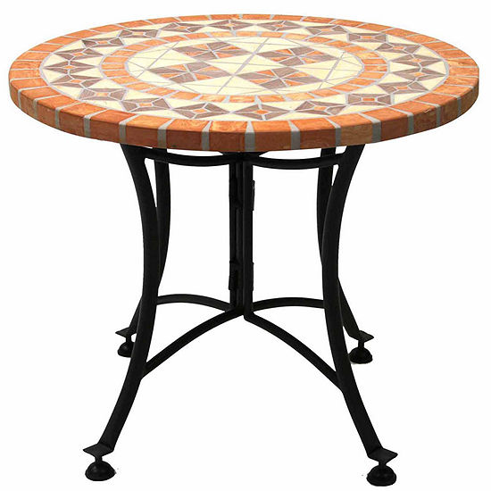 Outdoor Interiors 24 In Terra Cotta Mosaic End Table With Metal Base