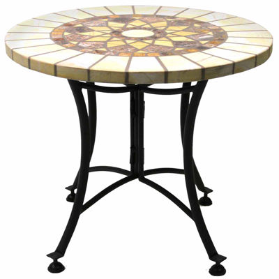 Marble Mosaic End Table With Metal Base